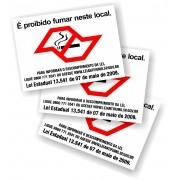 Kit com 3 Adesivos - Proibido Fumar - SP - Lei 13.541