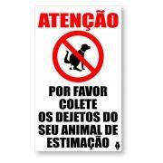 Placa Atenção sobre dejetos de animais