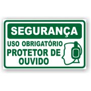 Placa EPI - Uso Obrigatório de Protetor de Ouvido