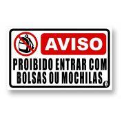 Placa Proibido Entrar com Bolsa ou Mochila