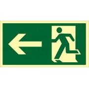 Placa S2 - Saída de Emergência à Esquerda Fotoluminescente
