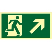 Placa S4 - Saída de Emergência à Direita Subindo Fotoluminescente
