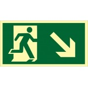 Placa S6 - Saída de Emergência à Direita Descendo Fotoluminescente