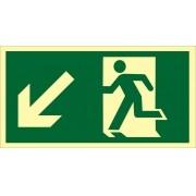 Placa S7 - Saída de Emergência à Esquerda Descendo Fotoluminescente