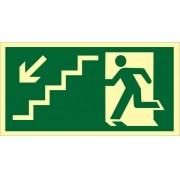 Placa S9 - Saída de Emergência à Esquerda Descendo Esq Fotoluminescente