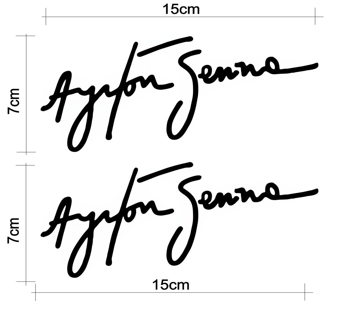 2 Adesivos Assinatura Ayrton Senna - Várias cores - Qualidade TOP