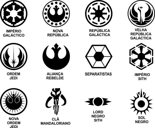 Adesivo Conjunto Star Wars 12 logos de 10cm - Várias Cores