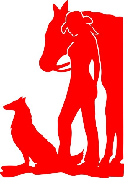 Adesivo Cowgirl com Cachorro e Cavalo