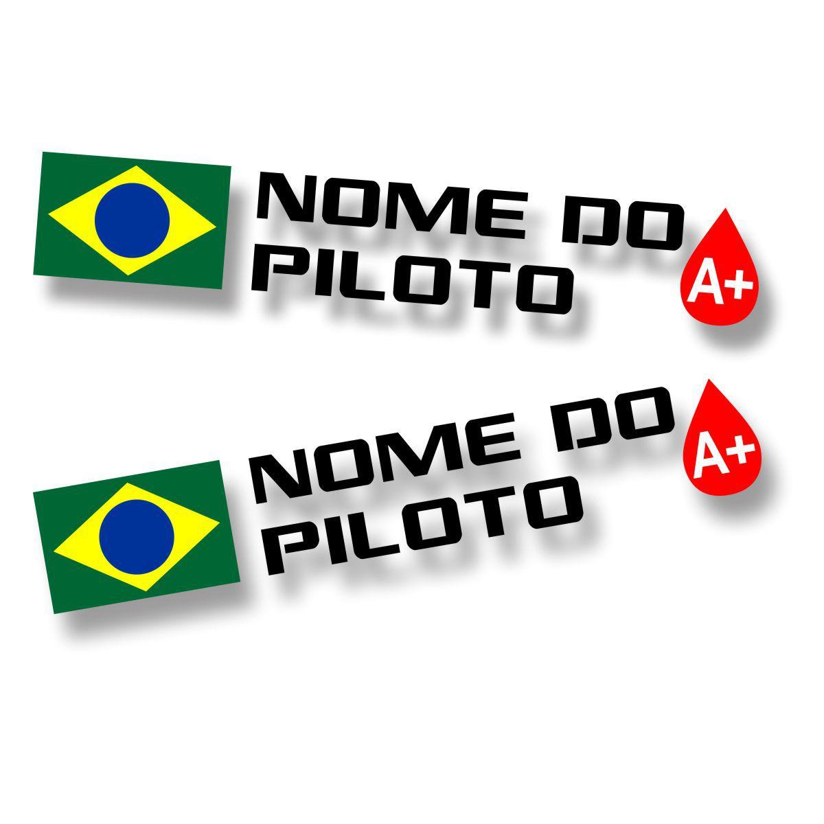 Adesivo de Identificação de Piloto com tipo sanguíneo e nacionalidade