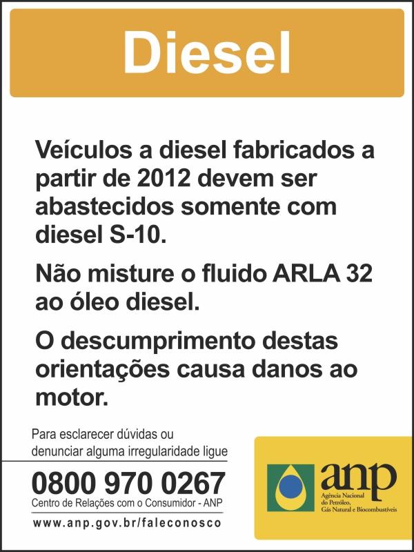 Adesivo Diesel ANP para Bomba de combustível - Obrigatório