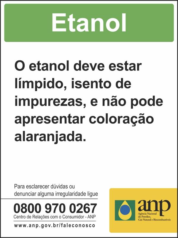 Adesivo Etanol ANP para Bomba de combustível - Obrigatório