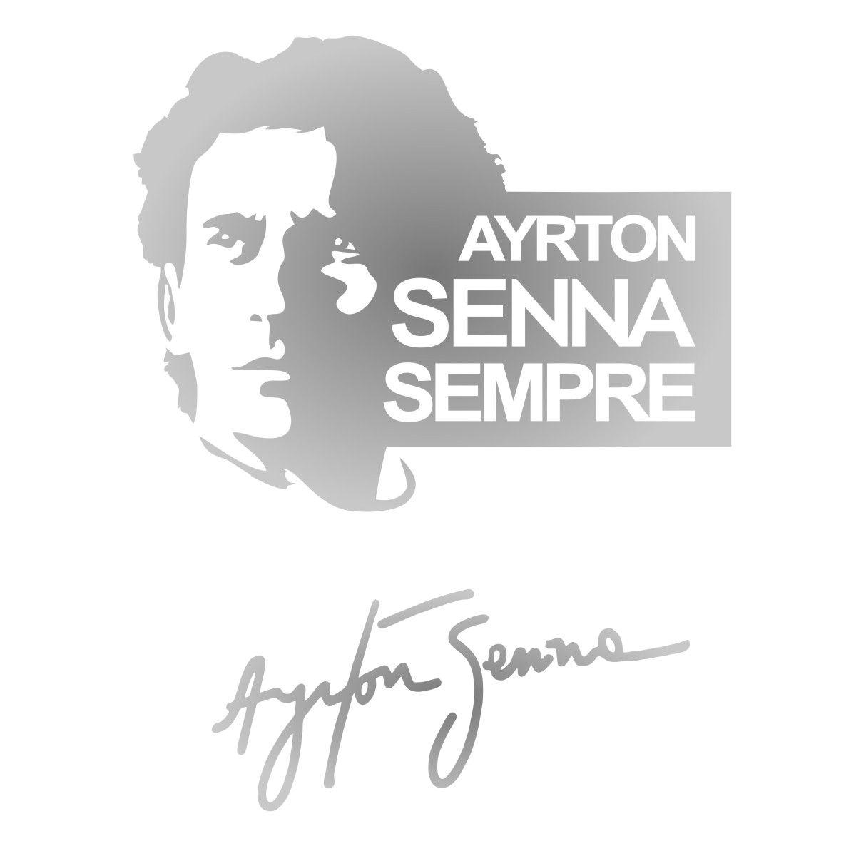Adesivo Kit Ayrton Senna Sempre + Assinatura