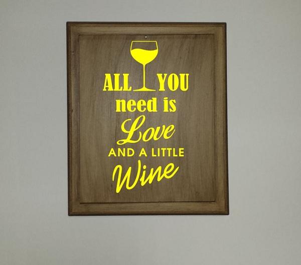 Adesivo Love Wine para Quadro ou Adega