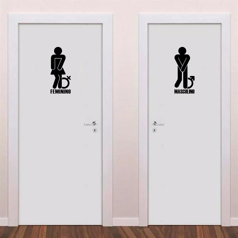 Adesivo Para Banheiro - Conjunto Masculino e Feminino