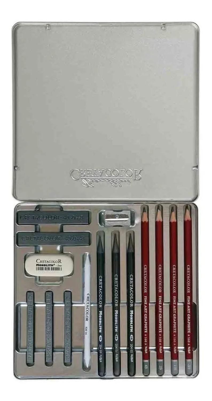 Estojo Cretacolor Silver box Graphife Drawing 15 pç
