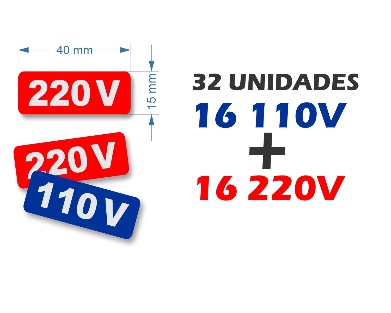 Etiquetas de Voltagem 110v e 220v - 32 unidades