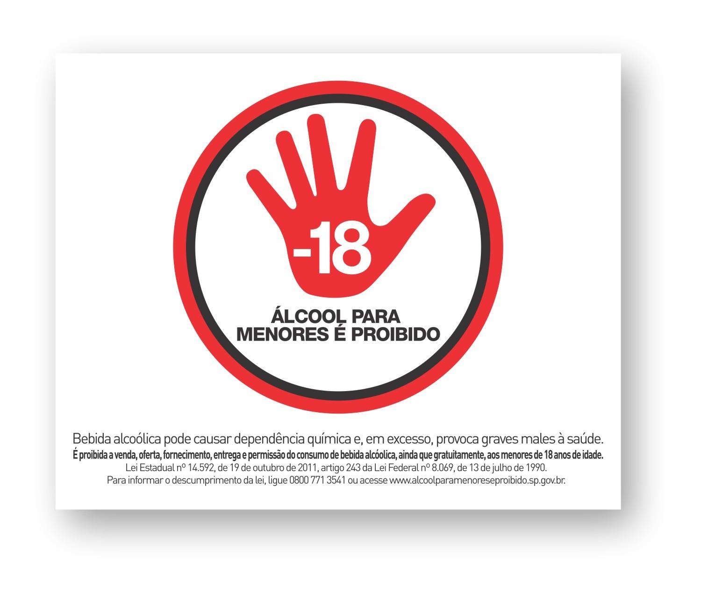 Kit com 3 Adesivos - Álcool para Menores é Proibido - Lei 8.069