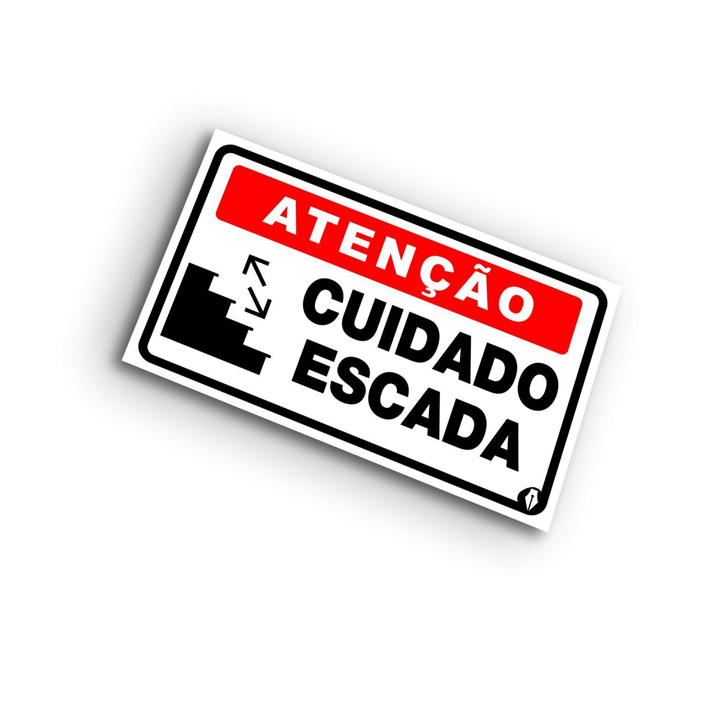 Placa Atenção Cuidado com a Escada