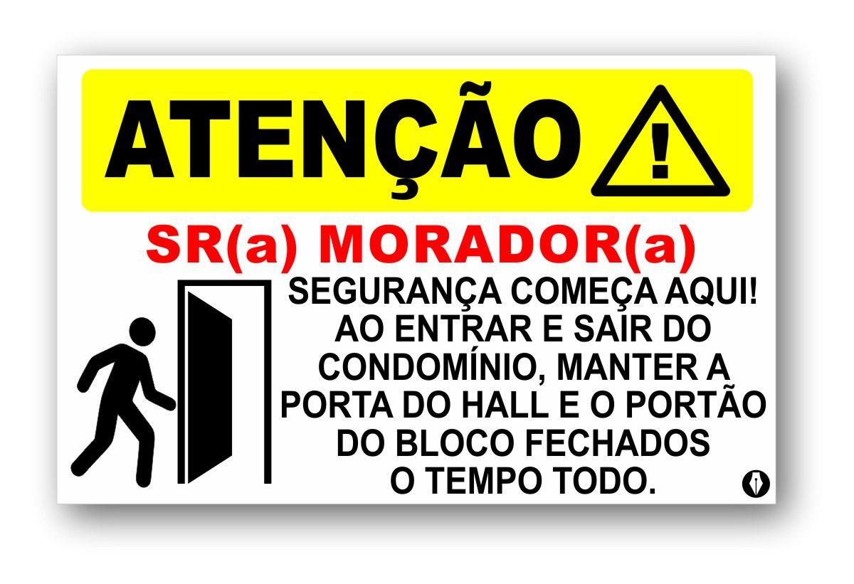 Placa Atenção Mantenha a porta Fechada