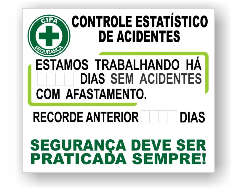 Placa Controle de Acidentes CIPA