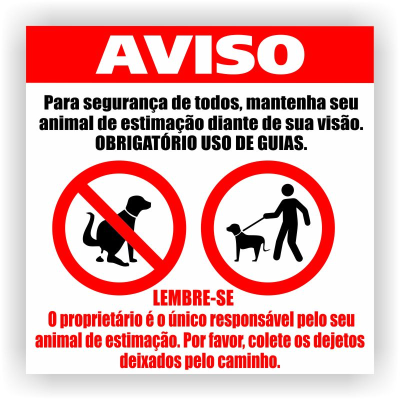 Placa de Aviso sobre animais