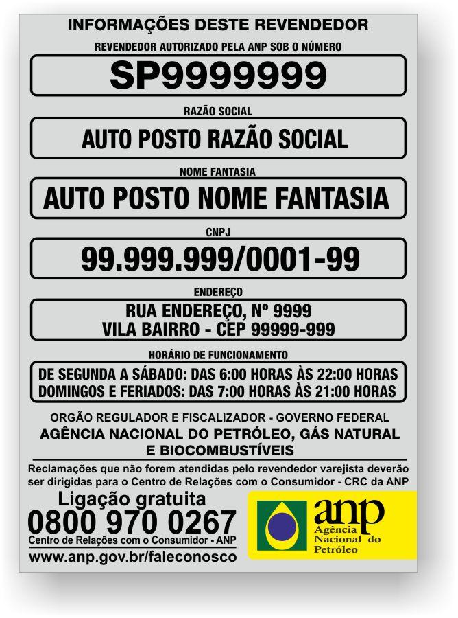 Placa Identificação Obrigatória Anp - Posto de Combustível