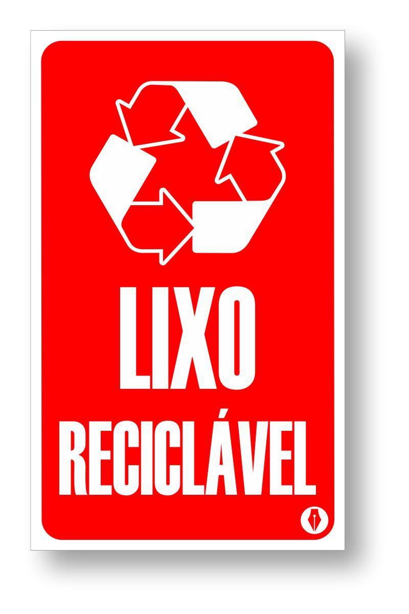 Placa LIXO RECICLÁVEL