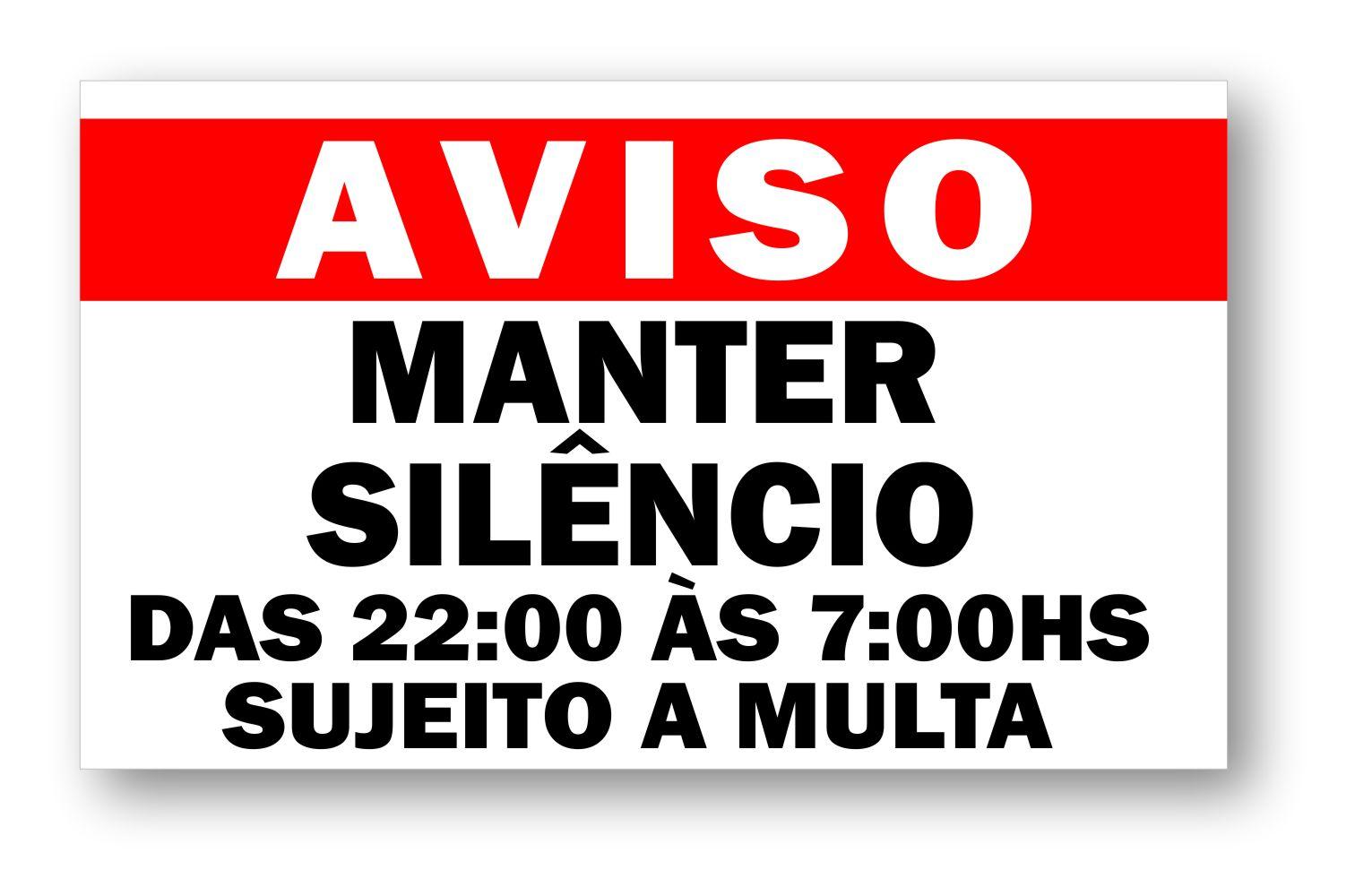 Placa Mantenha Silêncio após as 22 horas