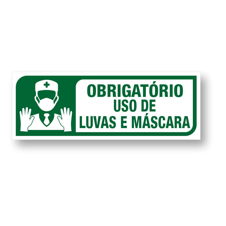 Placa Obrigatório o uso de Máscara e luvas