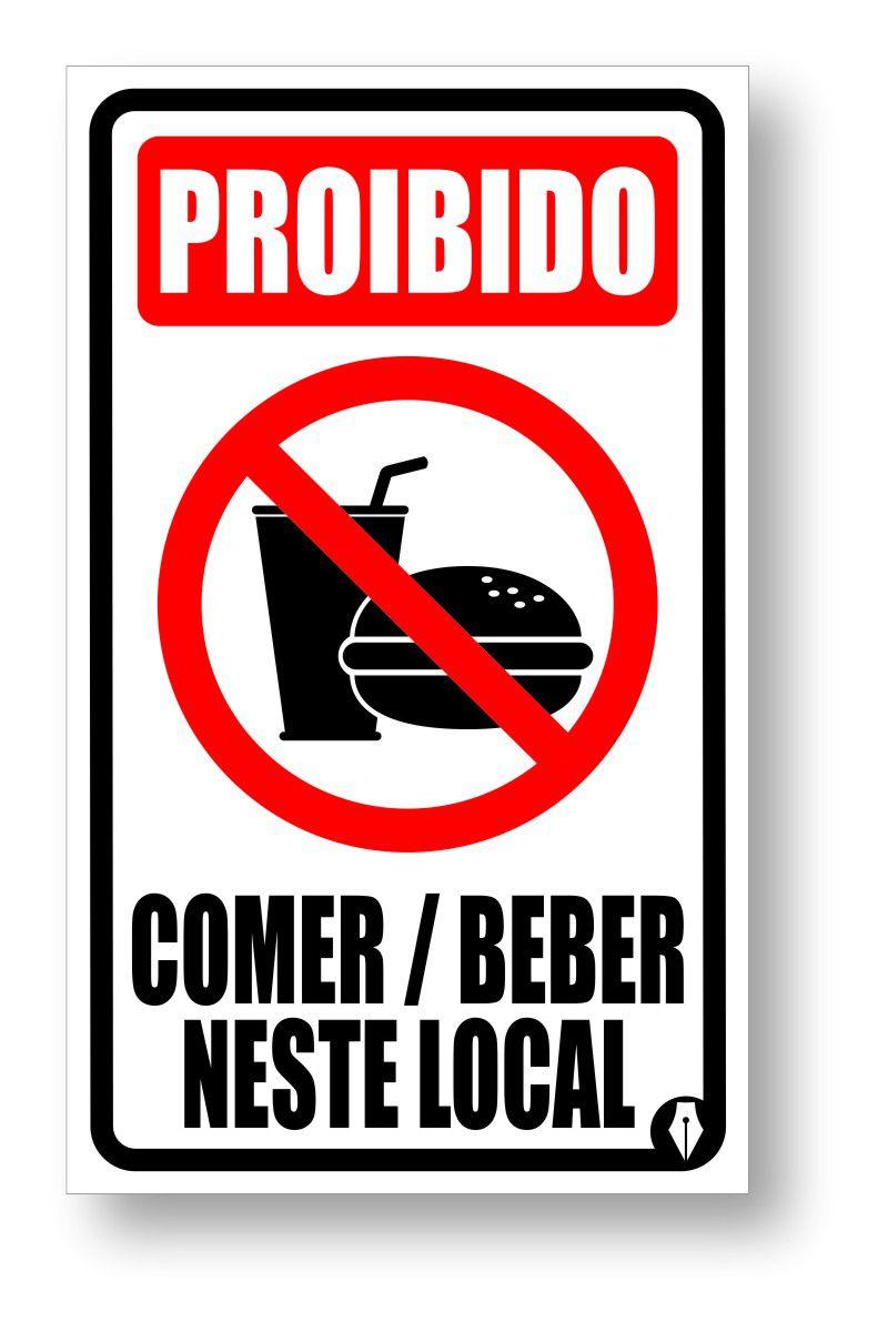 Placa Proibido comer ou beber neste local