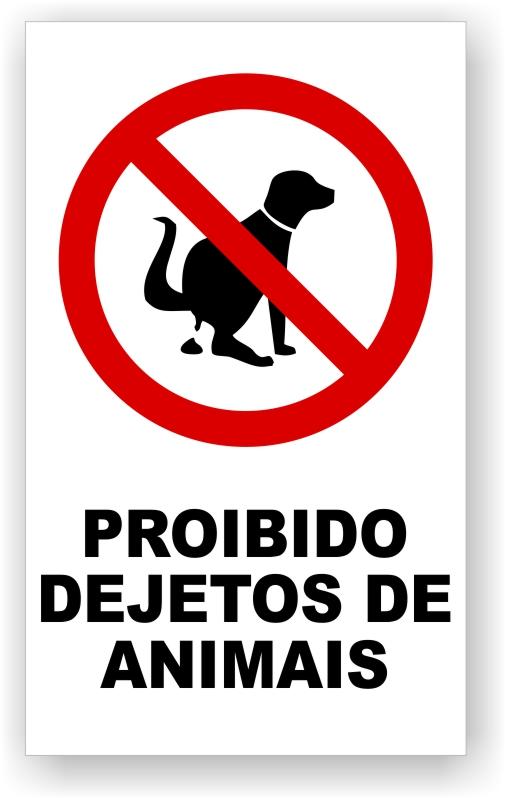 Placa Proibido Dejeto de Animais
