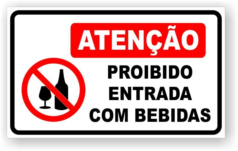 Placa Proibido Entrada com Bebidas