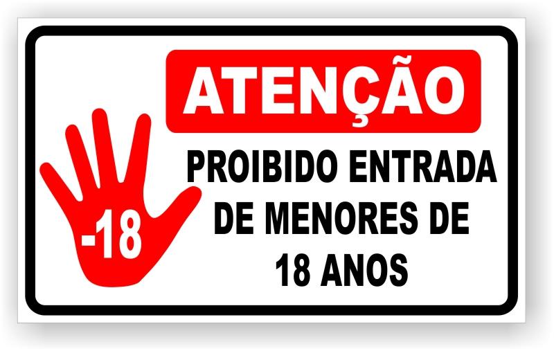 Placa Proibido Entrada de Menores
