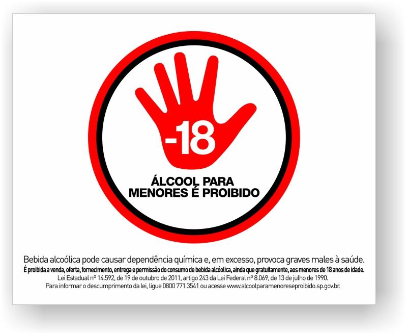 Placa Proibido Venda de Bebidas alcoólicas a menores