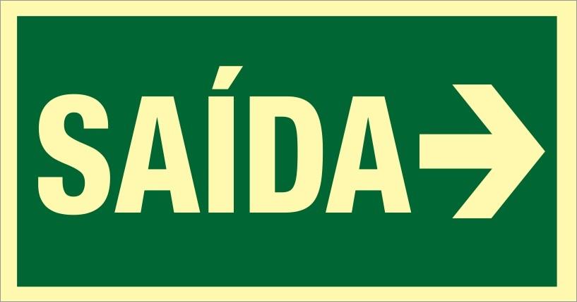 Placa S12D - Saída de Emergência SAÍDA Dir Fotoluminescente