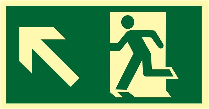 Placa S5 - Saída de Emergência à Esquerda Subindo Fotoluminescente