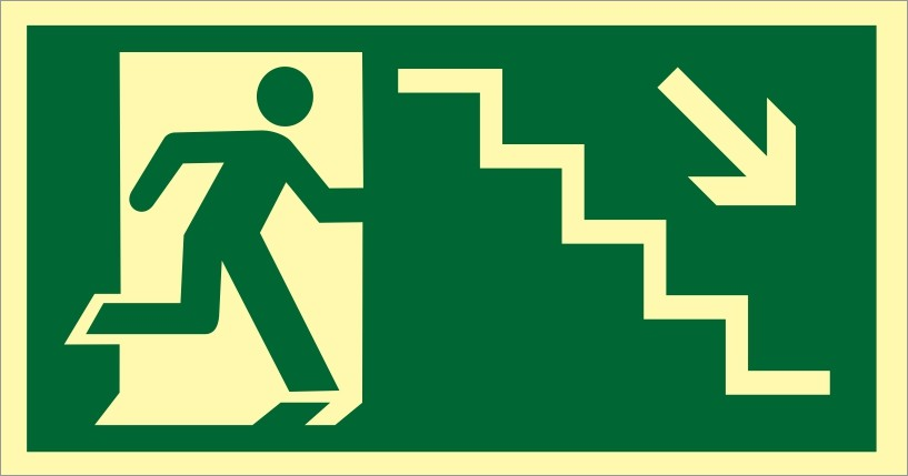 Placa S8 - Saída de Emergência Escada Descendo Dir Fotoluminescente