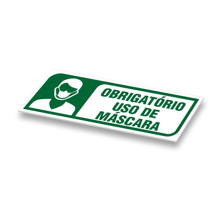 Placa Uso Obrigatório de Máscara 25x9cm em PVC 2mm