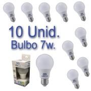 Kit 10 Lâmpadas Bulbo LED 7W Bivolt Certificação Inmetro Luz Branca