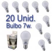 Kit 20 Lâmpadas Bulbo LED 7W Bivolt Certificação Inmetro Luz Branca