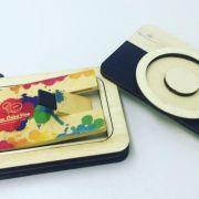 Kit Pen Card Madeira  + Case Wood Câm