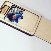 Kit Pen drive Retang bambu + Case Madeira p/ Foto 10x15 Wood Frame 5