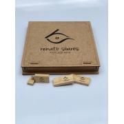 Kit Pen Drive Retang Largo + Case Madeira M. B. Wedding 15x21  Personalizado