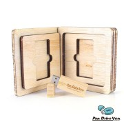 Kit Pen Drive Retangular Largo + Case Wood Frame 3