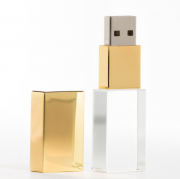 Pen Drive 4GB  Metal Ouro Cristal com Tampa Personalizado