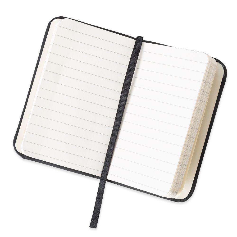 Caderneta tipo Moleskine emborrachada Cor Preto