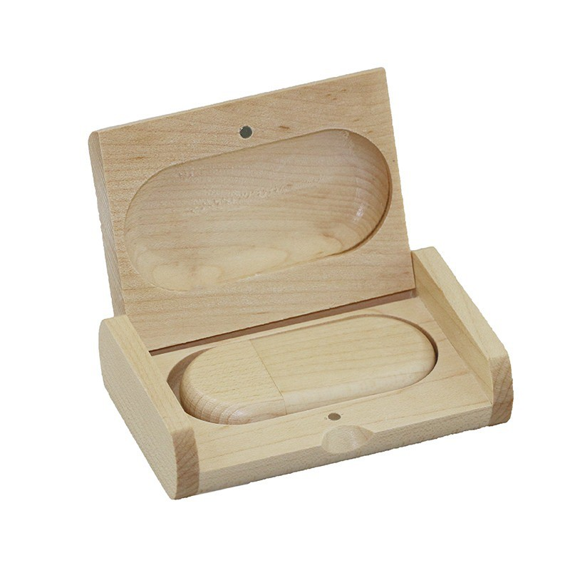 Case Madeira Maple Retangular com Pen Drive Oval Maple