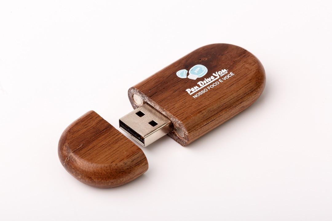 Case Madeira Tabaco Retangular com Pen Drive Oval Cor Tabaco  - Pen Drive You