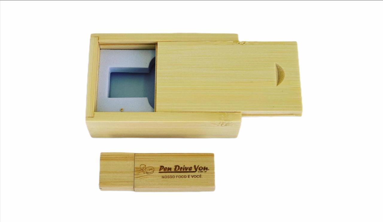 Case Madeira Bambú Retangular com Pen Drive Retangular Bambú