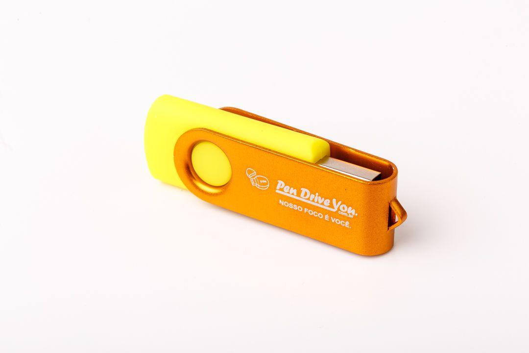 Pen Drive 4G Giratório Full Color - Amarelo Total Personalizado